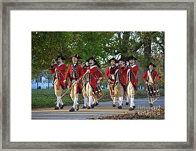 Drum And Fife On Palace Green, Colonial Williamsburg Virginia Framed Print by Tim Rudziensky