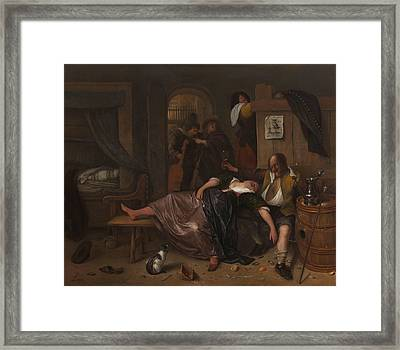 Drunk Couple Framed Print by Jan Steen