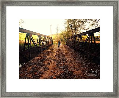 Dual On The Bridge At Dusk Framed Print by Scott D Van Osdol