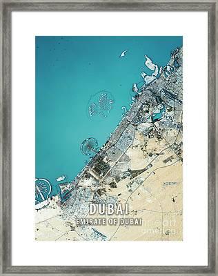 Dubai 3d Render Satellite View Topographic Map Framed Print