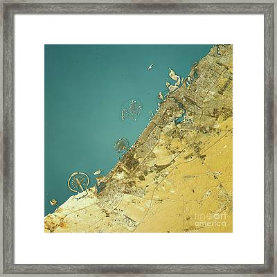 Dubai Topographic Map Natural Color Top View Framed Print by Frank Ramspott