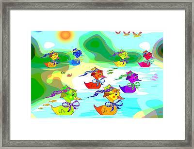 Ducks Framed Print by Victoria Regueira