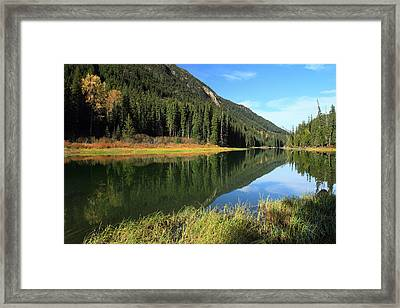 Duffey Lake Reflection In Autumn Framed Print by Pierre Leclerc Photography