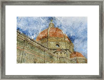 Duomo Santa Maria Del Fiore And Campanile. Florence, Italy Framed Print by Brandon Bourdages