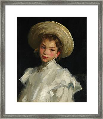 Dutch Girl In White Framed Print
