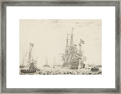 Dutch Ships Near The Coast Framed Print by Willem van de Velde the Elder