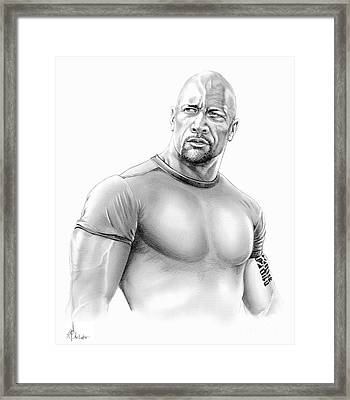 Dwayne Johnson Framed Print by Murphy Elliott