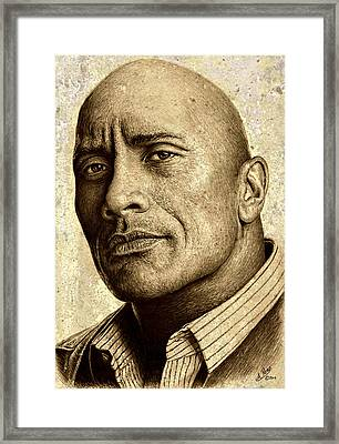 Dwayne The Rock Johnson Framed Print by Andrew Read