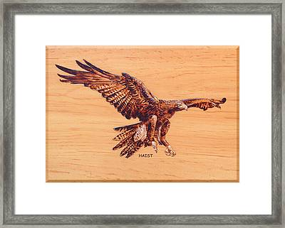 Framed Print featuring the pyrography Eagle by Ron Haist