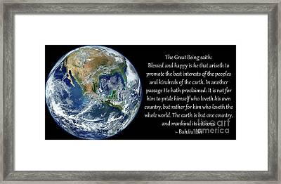 Earth Is But One Country Framed Print