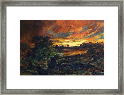 Framed Print featuring the painting Earth Light Series Lights On  by Len Sodenkamp