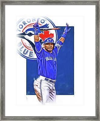 Edwin Encarnacion Toronto Blue Jays Oil Art Framed Print by Joe Hamilton