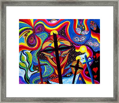 Framed Print featuring the painting Crosses To Bear by Marina Petro