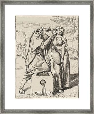 Eliezer And Rebekah At The Well Framed Print
