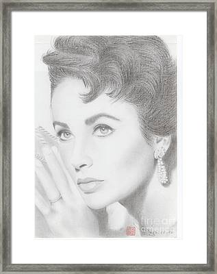 Framed Print featuring the drawing Elizabeth Taylor by Eliza Lo