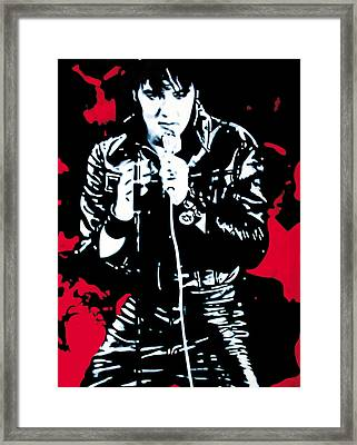 Elvis Framed Print by Luis Ludzska
