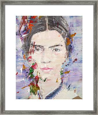 Framed Print featuring the painting Emily Dickinson - Oil Portrait by Fabrizio Cassetta
