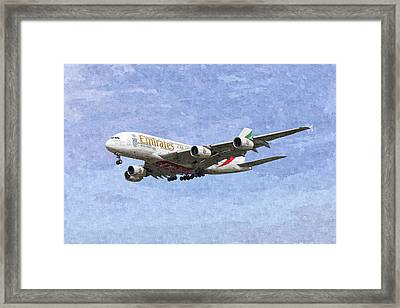 Emirates A380 Airbus Oil Framed Print