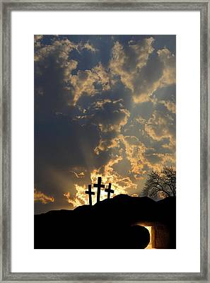 Empty Tomb And Three Crosses Framed Print by Colette Scharf