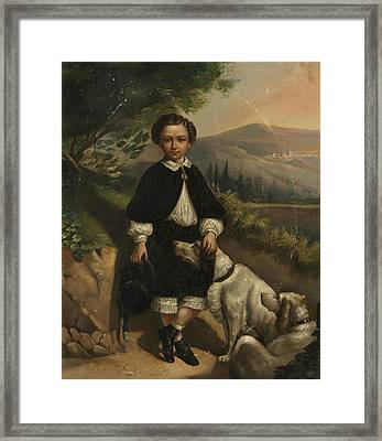 England Boy Portrait With Dogs Framed Print by MotionAge Designs
