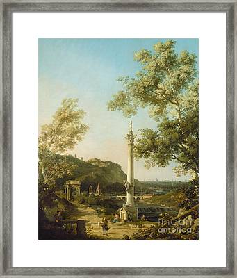 English Landscape Capriccio With A Column Framed Print