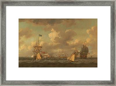 English Ships Coming To Anchor In A Fresh Breeze Framed Print