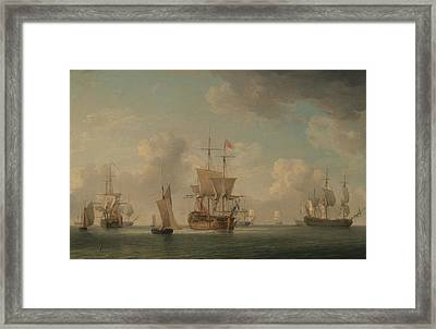 English Ships Under Sail In A Very Light Breeze Framed Print