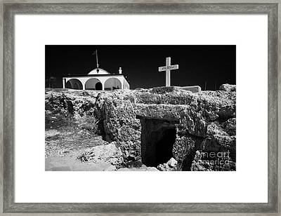 Entrance To The Underground Old Church At Ayia Thekla Republic Of Cyprus Europe Framed Print by Joe Fox