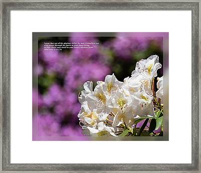 Framed Print featuring the photograph Ephesians 3 16-17a by Dawn Currie