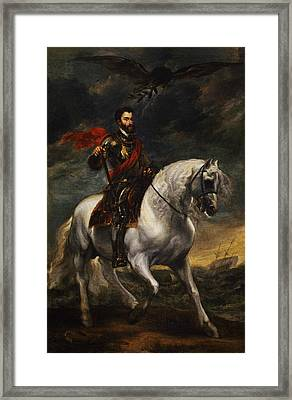 Equestrian Portrait Of The Emperor Charles V Framed Print by Anthony van Dyck