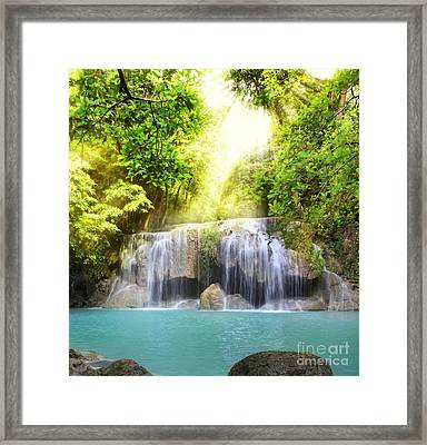 Erawan Waterfall Framed Print by Anek Suwannaphoom