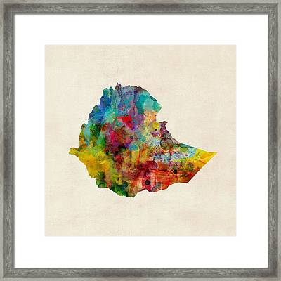 Ethiopia Watercolor Map Framed Print by Michael Tompsett