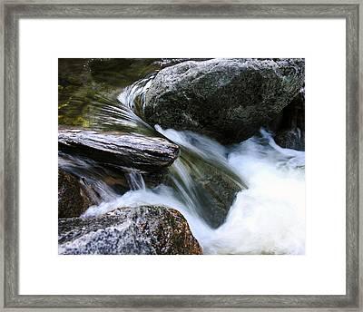 Etruded Log-end In Merced River Framed Print by D Kadah Tanaka