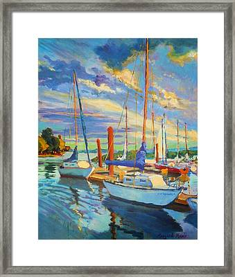 Evening At The Marina Framed Print by Margaret  Plumb