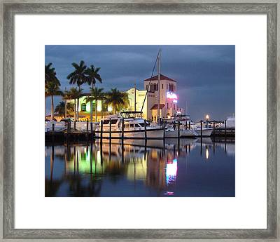 Evening At The Twin Dolphin Marina Framed Print by Kimberly Camacho