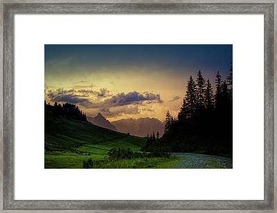 Evening In The Alps Framed Print by Nailia Schwarz
