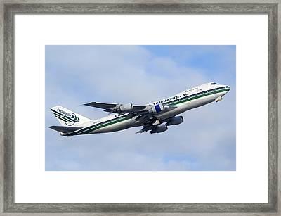 Evergreen International Boeing 747-230b N488ev Phoenix Sky Harbor December 23 2010 Framed Print by Brian Lockett