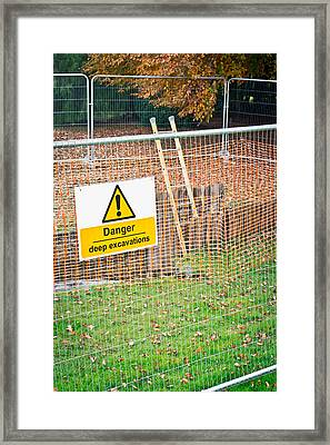 Excavation Sign Framed Print by Tom Gowanlock