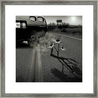 Exhausting Pipe Flowers Framed Print