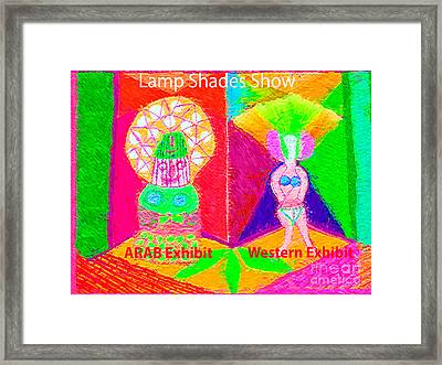 Exhibition Of Lamp Shades Artist View Of Diversity In Lamp Shades From Middle East N Western World Framed Print by Navin Joshi