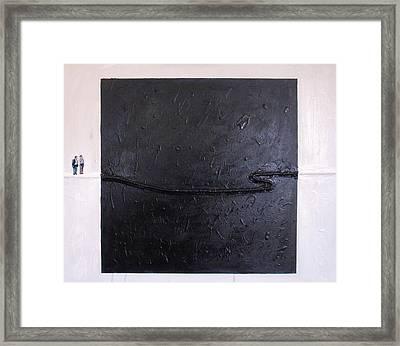 Explaining Modern Art Standing On An Elegant Line Framed Print by Kevin Callahan