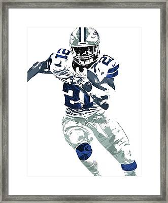 Ezekiel Elliott Dallas Cowboys Pixel Art 6 Framed Print by Joe Hamilton