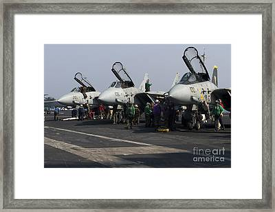 F-14d Tomcats On The Flight Deck Of Uss Framed Print by Gert Kromhout