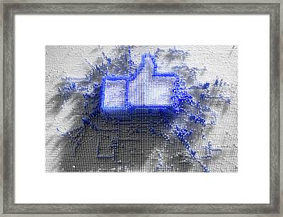 Facebook Like Logo In Pixels Framed Print