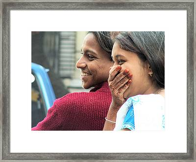 Faces Of India - Happy Couple Framed Print by Steve Rudolph