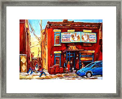 Fairmount Bagel In Winter Framed Print by Carole Spandau