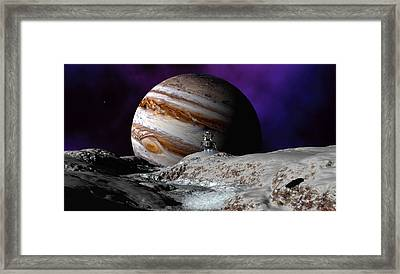 Framed Print featuring the digital art Falcon Over Europa by David Robinson
