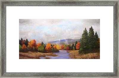 Fall Pond Scene Framed Print by Ken Ahlering