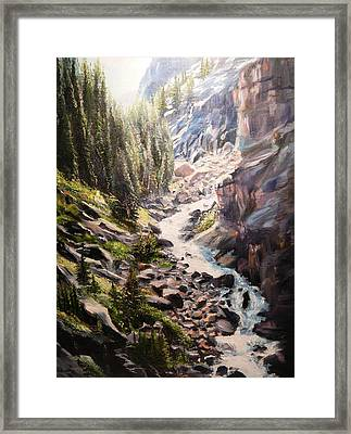 Falls Below Rimrock Lake Framed Print