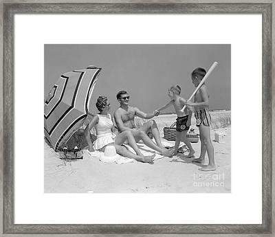 Family At The Beach, C.1960s Framed Print
